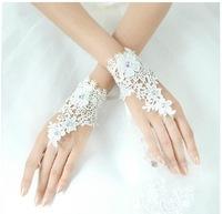 Lace rhinestone bridal gloves flower fashion female short design style wedding accessories married fairy