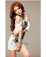Korea Women Sexy Ink Floral Off Shoulder Short Sleeve Casual T-Shirt Fit Slim Mini Dress T shirt SE030