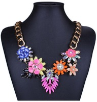Fashion Jewelry 2014 Europe and America star jewelry vintage ceramic flower pendant statement chain necklace