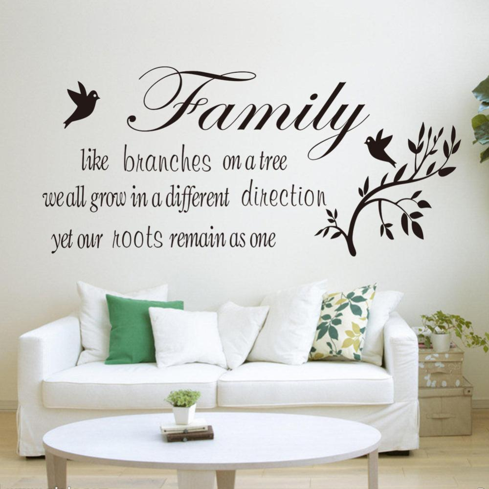 Family like branch english proverbs branch birds wall for Decoration murale sticker