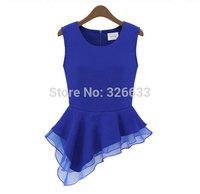 1pcs/lot 2014 new fashion women chiffon sleeveless ruffles Peplum Frill Shirt Blouse women Tops Blue/ white