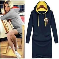2014 new hot fashion women clothing girl casual dress winter dress wild slim Elegant long sleeve Plus size Slim Casual Hooded