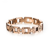 Top Quality Pretty Lady Metal Stainless Steel Bangle Yellow Gold, Rose Gold & Silver Bracelet with Rhinestone