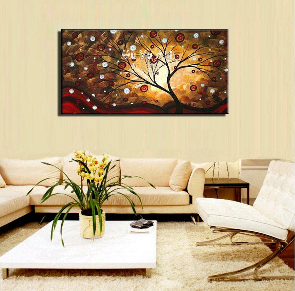 Pintados à mão abstrata moderna ramo de árvore acrílico imagem canvas wall art pintura a óleo sobre tela para sala de estar decoração(China (Mainland))