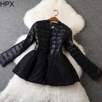 Women Fashion Cute Long Sleeve Zipper Ruffles White Duck Down Coat,Ladies Brand Designer 2014 Autumn Winter New European America