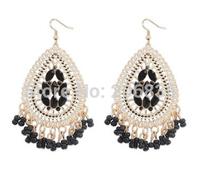 New18k Gold Bohemia Earrings Handmade Tassel Earrings Frosted Flower Waterdrop Earrings for Woman