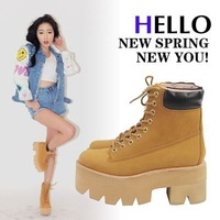 2014 autumn winter warm woman new shoes with thick soles muffin thick scrub boots punk Martin boots women boots free shipping
