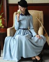 Wholesale elegant brand peter pan collar casual vintage dresses women 2014 autumn winter maxi long dress party work wear blue