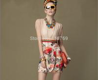 2014 Summer New Women's Dress High-end Silk Chiffon Printed Round Neck Short-sleeved Dress Women's Vintage Dress