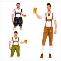 free shipping! sexy men Lederhosen costume  Mr. Oktoberfest  halloween  dancewear shirt and suspender shorts 15130