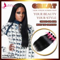 "DF Hair:100% Human Hair Weaves Silky Straight Brazilian Virgin Hair Extensions 8""-28""Mixed Bundles Bundles/lot  Jet Black Cheap"