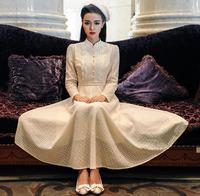 Wholesale elegant brand maxi long vintage casual dresses women 2014 autumn winter lace prom dress party work wear light yellow