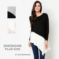 2014 New Fashion women big plus size long sleeve O neck black gray white asymmetric blocked swing tunic contrast tops tee shirt