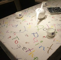 Japanese style monogram tablecloth Cartoon alphabet letter table cloth thin linen dinning table cover freeshipping