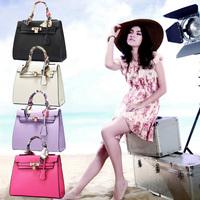 2015 New Ribbon Handle Women Handbag,Metal Twist Lock Tote Clutch PU Leather Shoulder Messenger Casual Bag Bolsas Femininas