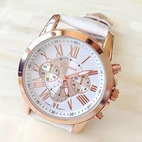 Exquisite Women's Geneva Roman Numerals Faux Leather Analog Quartz Wrist Watch Suzie