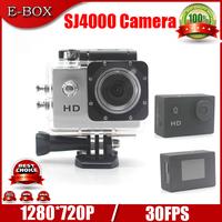 """Free shipping Diving 30Meter Waterproof Camera SJ4000 HD 720P 30FPS 1.5""""LCD Sport Helmet Video Camera"""