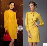 Autumn selling 2014 Celebrity Women Vintage Elegant OL turn-down collar Patchwork Long sleeve Slim Midi Yellow Pencil Dress S-L
