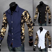 Factory Direct! Men's long-sleeved men casual fashion brand printing minimalist designer's style shirt sleeves fight