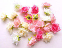 Free shipping (100pcs/lot) 4cm Artificial Silk Camellia Rose Flower Heads Wedding DIY Decoration Flowers 15 Colours Available