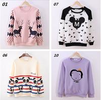 (Alice)2014 new flocking cartoon lady women's new style hoodies free cotton sweatshirt 21 colors fleece inside winter sweaters