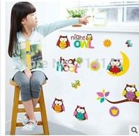 Free Shipping 50*70cm Night  Owl Wall Sticker Home Decor