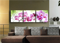 Unique Abstract flowers Oil Paintings Phalaenopsis on Canvas 3 piece Art Wall Decor with framed Tub Gift C/974