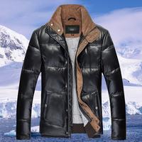 Super quality! 2014 Winter men's Fashion 100% natural Genuine sheep leather fur coat Men's Genuine Leather down wear