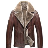 Men's double face jacket sheepskin Genuine leather jacket coat with woollen bladder Men's real fur leather jacket outerwear Coat