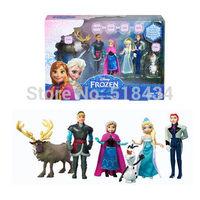 Frozen princess6pcs/set,100 Genuine Original New Brand Frozen Anna Elsa Hans Kristoff Sven Olaf PVC Action Figures toy Dolls Set