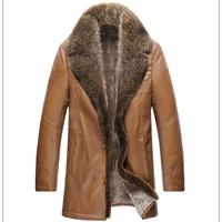 2014 Winter coat Men's double face Genuine Leather Luxury Cowhide jacket With raccoon fur collar overcoat with woollen bladder