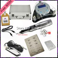 Lowest Price fashion Silver aluminum brand intelligent digital permanent makeup machine Kit for eyebrow lip tatoo power supply