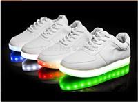 2014 USB luminous shoes battery version LED light shoes women shoes sports women platform wedge high heels sneakers