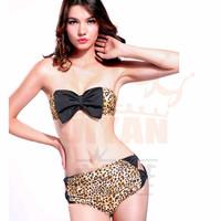 DYYY-0485 Hot Sexy New retro Print color Bra Bikini Sets Women Fashion Bowknot High Waist Bikini Swimsuit brazilian Leopard