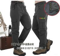 Free shipping 2014 brand fashion soft shell fleece men's climbing sports pants winter outdoor waterproof skiing charge trousers