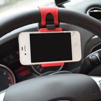 Universal Silicon Car Steering Wheel Mobile Phone Socket Holder 54-76mm Retractable Cellphone GPS Car Wheel Mini Bracket