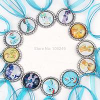 20pcs/lot 2014 New Arrival 46cm My Little Pony Bottle Caps Necklace Girls Blue Ribbon Cartoon Pendants Necklace