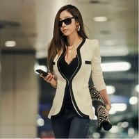 Blazer Femininos 2014 Women Blaser Pactchwork Mandarin Collar White Black Colors Casual Fashion Blazer Lady Suit NZH020