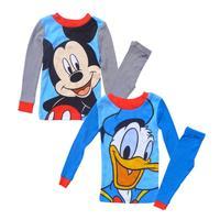 Baby Pajamas Children Clothing Set 2pcs Boys Sleepwear Kids Clothes Long Cotton Blue Cartoon Miki Mouse Donald Duck Pijamas