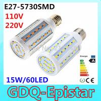 2pcs Super bright 15W 60LED 5730 SMD E27 E14 B22 Corn Bulb Light Maize Lamp LED Light Bulb Lamp LED Lighting Warm/Cool White