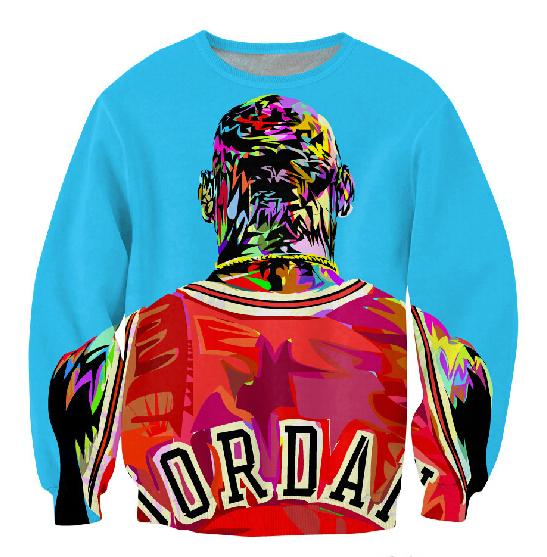 2014 autumn new men/women's 3D pullover hoodie print color painting Jordan sweatshirt long sleeve crewneck casual sweat shirt(China (Mainland))