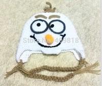 Handmade Crochet Frozen Olaf Hat Children's Knitted Caps Newborn Infant Toddler Hats Kids Winter Beanie Skullcap Earflaps A001
