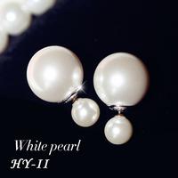 New Christmas Gift Fashion Bijoux Pearl Piercing Statement Earring Big Double Side Pearl Stud Earrings For Women Fashion Jewelry