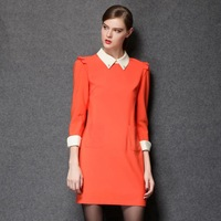 2014 new antumn fashion Hitz plus size women in Europe and America style personality doll collar mini casual dress L-4XL