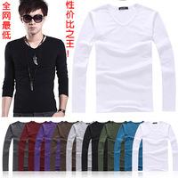 Lycra + Cotton fashion Men's Stylish Comfort Lycra Deep V-Neck Long Sleeves T-Shirt Tunic Button Tops/Tees 3519 b015