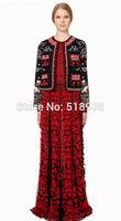 New 2014 autumn winter women luxury fashion brand embroidery wool jackets coat vintage patterns pockets jacket woolen outerwear