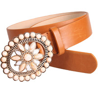 Women Retro Rhinestone New Design Belts Fashion Hollow Flower Country Belt Buckles Waistband For Women