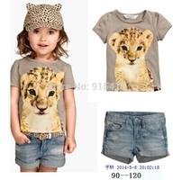 New Arrival Summer Children's wear, Fashionable Girls clothes leopard short sleeve T-shirt  denim shorts Suit, 5set/lot