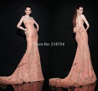 Best Selling Sweetheart Backless Mermaid Orange Lace Court Train Bow Vestido De Festa Long Elegant Evening Dresses Prom Gown