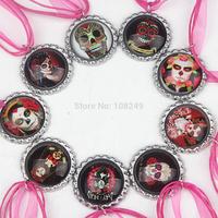 50pcs/lot 2014 New Arrival 46cm Day of the Dead Skull Bottle Caps Necklace Girls Ribbon Cartoon Pendants Necklace